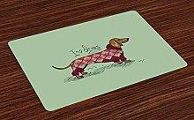 ABAKUHAUS Dachshund Place Mats Set of 4, Animal in