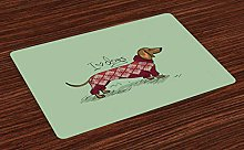 ABAKUHAUS Dachshund Place Mats Set of 4, Animal in