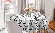 ABAKUHAUS Dachshund Round Tablecloth, Pattern