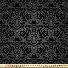ABAKUHAUS Dark Grey Fabric by The Yard, Black