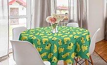 ABAKUHAUS Dog Round Tablecloth, Cartoon Style Pets