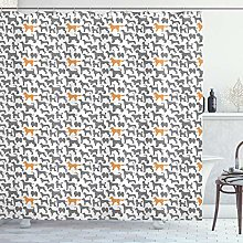 ABAKUHAUS Dogs Shower Curtain, Pattern with Dog