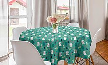 ABAKUHAUS Easter Bunny Round Tablecloth,