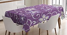 ABAKUHAUS Eggplant Tablecloth, Lilacs with Leaves,