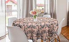 ABAKUHAUS Eiffel Round Tablecloth, Retro Bicycles