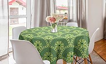 ABAKUHAUS Ethnic Round Tablecloth, Repetitive