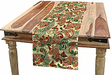 ABAKUHAUS Ethnic Table Runner, Paisley Leaves with