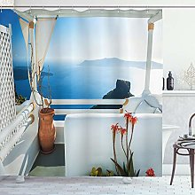 ABAKUHAUS European Shower Curtain, Holiday Terrace