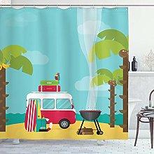 ABAKUHAUS Explore Shower Curtain, Caravan Camping
