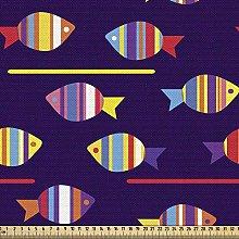 ABAKUHAUS Fish Fabric by The Yard, Rainbow