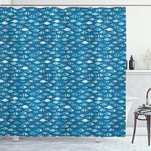 ABAKUHAUS Fishes Shower Curtain, Abstract Aquatic
