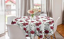 ABAKUHAUS Floral Round Tablecloth, Pink Gracious