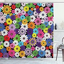ABAKUHAUS Flower Shower Curtain, Floral Vivid