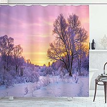 ABAKUHAUS Forest Shower Curtain, Landscape with