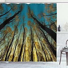 ABAKUHAUS Forest Shower Curtain, Rural Scenery