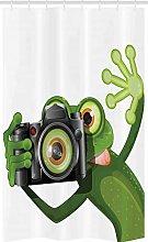 ABAKUHAUS Frog Stall Shower Curtain, Funny Animal