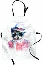 ABAKUHAUS Funny Apron, Retro Hipster Funky Raccoon