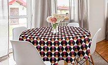 ABAKUHAUS Geometric Round Tablecloth, Rhombus