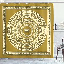 ABAKUHAUS Greek Key Shower Curtain, Frieze with