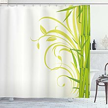 ABAKUHAUS Green Shower Curtain, Bamboo with Floral