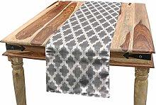 ABAKUHAUS Grey and White Table Runner, Geometric