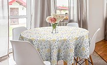 ABAKUHAUS Grey and Yellow Round Tablecloth, Grunge