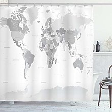 ABAKUHAUS Grey Shower Curtain, Detailed World Map