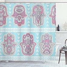 ABAKUHAUS Hamsa Shower Curtain, Bohemian Style