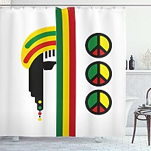 ABAKUHAUS Jamaican Shower Curtain, Abstract