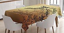 ABAKUHAUS Japanese Tablecloth, Bamboo Motifs,