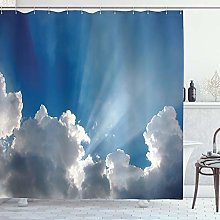 ABAKUHAUS Landscape Shower Curtain, Colorful Sky