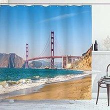 ABAKUHAUS Landscape Shower Curtain, Panoramic View