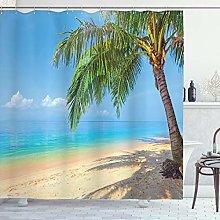 ABAKUHAUS Landscape Shower Curtain, Tropic Botanic