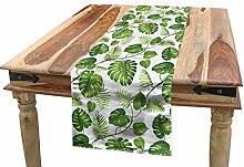 ABAKUHAUS Leaf Table Runner, Swirls Palm Banana