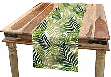 ABAKUHAUS Leaf Table Runner, Tropic Exotic Palm