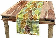 ABAKUHAUS Leaves Table Runner, Soft Colored Autumn
