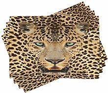ABAKUHAUS Leopard Place Mats Set of 4, Predator