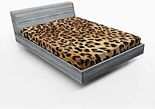 ABAKUHAUS Leopard Print Fitted Sheet, Wild Animal