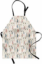 ABAKUHAUS Llama Apron, Childish Cactus Animal,