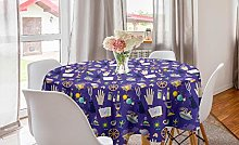 ABAKUHAUS Magician Round Tablecloth, Mystical