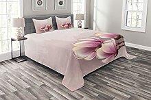 ABAKUHAUS Magnolia Bedspread Set, Fragile Flower