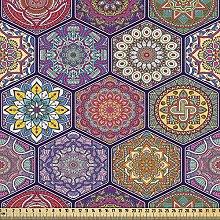 ABAKUHAUS Mandala Fabric by The Yard, Hexagonal