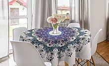 ABAKUHAUS Mandala Round Tablecloth, Rich Colorful