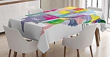 ABAKUHAUS Map Tablecloth, USA Map Colorful States,