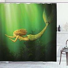 ABAKUHAUS Mermaid Shower Curtain, Mermaid with