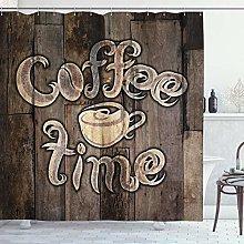 ABAKUHAUS Modern Shower Curtain, Coffee Time