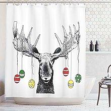 ABAKUHAUS Moose Shower Curtain, Christmas Moose