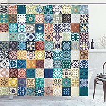 ABAKUHAUS Moroccan Shower Curtain, Patchwork