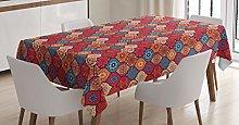 ABAKUHAUS Moroccan Tablecloth, Oriental Wavy Curvy