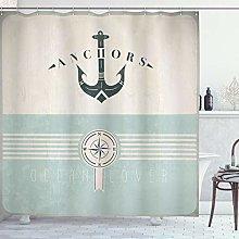 ABAKUHAUS Nautical Shower Curtain, Vintage Marine